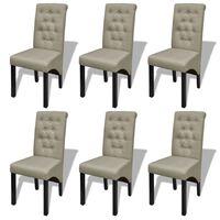 vidaXL Krzesła stołowe, 6 szt., beżowe, tkanina