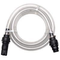 vidaXL Wąż ssący ze złączkami, 7 m, 22 mm, biały