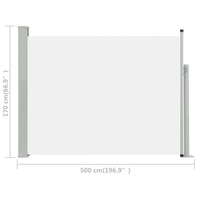 vidaXL Wysuwana markiza boczna na taras, 170 x 500 cm, kremowa