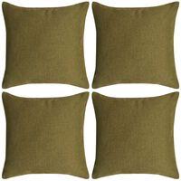 vidaXL Poszewki na poduszki 4 szt. lniane, zielone 50x50 cm