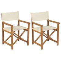 vidaXL Składane krzesła reżyserskie, 2 szt., lite drewno tekowe
