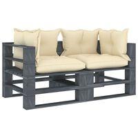 vidaXL Ogrodowa sofa 2-osobowa z palet, z kremowymi poduszkami, drewno