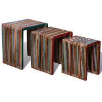 vidaXL Zestaw 3 stolików wsuwanych pod siebie, kolorowe drewno tekowe