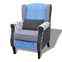 vidaXL Fotel patchworkowy, tkanina