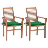 vidaXL Krzesła stołowe, 2 szt., zielone poduszki, drewno tekowe