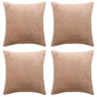 vidaXL Poszewki na poduszki, 4 szt., welur, 50x50 cm, beżowy