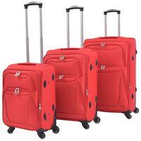 vidaXL 3-częściowy komplet walizek podróżnych, czerwony