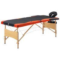 vidaXL Składany stół do masażu, 3 strefy, drewno, czarno-pomarańczowy