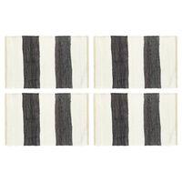 vidaXL Maty na stół, 4 szt, Chindi, paski, antracytowo-białe, 30x45 cm
