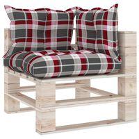 vidaXL Sofa narożna z palet, z poduszkami, drewno sosnowe