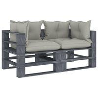 vidaXL Ogrodowa sofa 2-osobowa z palet, z poduszkami taupe, drewniana