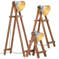 vidaXL Lampy podłogowe, 3 szt., srebrne, E27, lite drewno mango