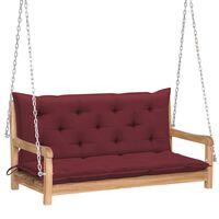 vidaXL Huśtawka ogrodowa z czerwoną poduszką, 120 cm, drewno tekowe