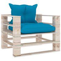 vidaXL Sofa ogrodowa z palet, z niebieskimi poduszkami, drewno sosnowe