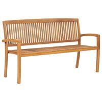 vidaXL 3-osobowa ławka ogrodowa, 159 cm, lite drewno tekowe