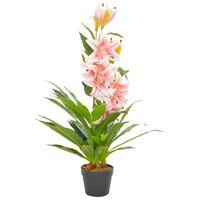 vidaXL Sztuczna lilia z doniczką, różowy, 90 cm