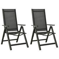 vidaXL Składane krzesła ogrodowe 2 szt., textilene i aluminium, czarne