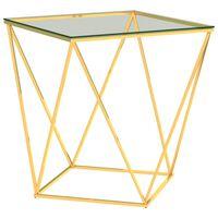 vidaXL Stolik kawowy złoto-przezroczysty, 50x50x55 cm, stal nierdzewna