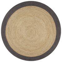 vidaXL Ręcznie wykonany dywanik, juta, ciemnoszara krawędź, 90 cm