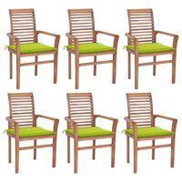 vidaXL Krzesła stołowe z jasnozielonymi poduszkami, 6 szt., tekowe