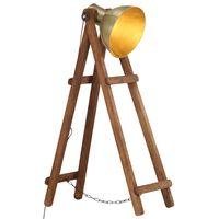 vidaXL Lampa podłogowa, kolor mosiądzu, E27, lite drewno mango