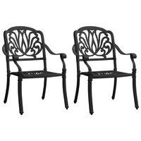 vidaXL Krzesła ogrodowe 2 szt., odlewane aluminium, czarne