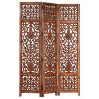 vidaXL Parawan 3-panelowy, rzeźbiony, brązowy 120x165 cm, drewno mango