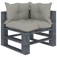 vidaXL Ogrodowe siedzisko narożne z palet, z poduszkami taupe, drewno
