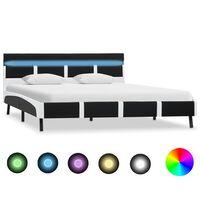 vidaXL Rama łóżka z LED, czarna, sztuczna skóra, 120 x 200 cm