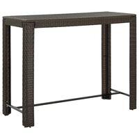 vidaXL Ogrodowy stolik barowy, brązowy, 140,5x60,5x110,5 cm, rattan PE