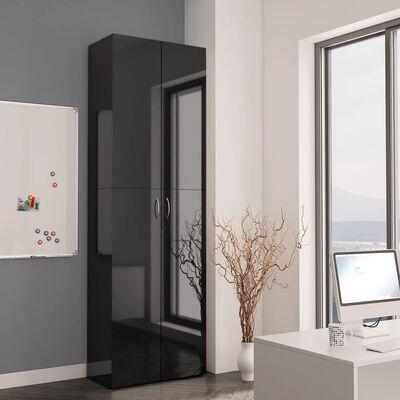 vidaXL Szafa biurowa, wysoki połysk czarna, 60x32x190cm, płyta wiórowa
