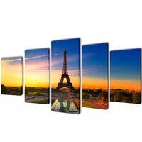 Zestaw obrazów Canvas 100 x 50 cm Wieża Eiffla
