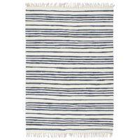 vidaXL Ręcznie tkany dywan Chindi 160x230 cm, bawełna, biało-niebieski