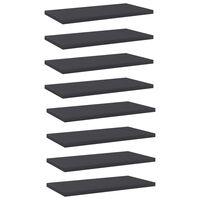 vidaXL Półki na książki, 8 szt., szare, 40x20x1,5 cm, płyta wiórowa
