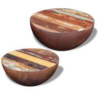 vidaXL Dwa stoliki kawowe na kształt misy z drewna odzyskanego
