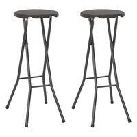 vidaXL Składane stołki, 2 szt., HDPE i stal, brązowe, rattanowy wygląd
