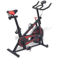 vidaXL Stacjonarny rower treningowy z pomiarem pulsu, czarno-czerwony