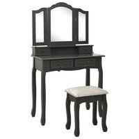 vidaXL Toaletka ze stołkiem, szara, 80x69x141 cm, drewno paulowni