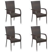 vidaXL Sztaplowane krzesła ogrodowe, 4 szt., polirattan, brązowe