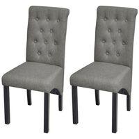 vidaXL Krzesła do jadalni, 2 szt., jasnoszare, tapicerowane tkaniną
