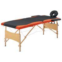 vidaXL Składany stół do masażu, 2 strefy, drewno, czarno-pomarańczowy
