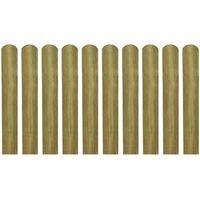 vidaXL Impregnowane sztachety, 10 szt., drewno, 60 cm