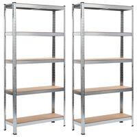 vidaXL Regały magazynowe, 2 szt., srebrne, 90x30x180 cm, stal i MDF