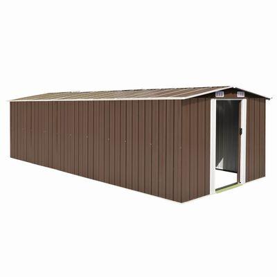 vidaXL Szopa ogrodowa, 257x580x181 cm, metal, brązowa
