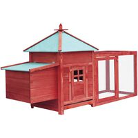 vidaXL Klatka dla kurcząt z gniazdem, czerwona, 193x68x104 cm, jodła