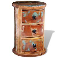 vidaXL Okrągła szafka z drewna odzyskanego z 3 szufladami