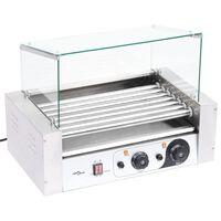 vidaXL Grill 7-rolkowy do hot dogów ze szklaną pokrywą, 1400 W