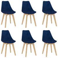 vidaXL Krzesła stołowe, 6 szt., niebieskie, aksamitne