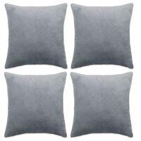 vidaXL Poszewki na poduszki, 4 szt, welur, 40x40 cm, szary