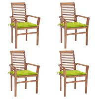 vidaXL Krzesła stołowe, 4 szt., jasnozielone poduszki, drewno tekowe